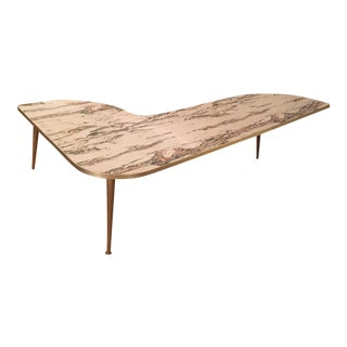 Mid-Century Formica Marble Boomerang Coffee Table