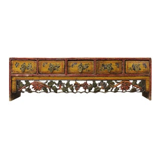Chinese Vintage Restored Yellow Red Floral Carving Display Chest