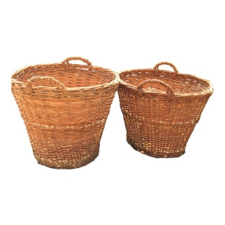 French Handled Baskets - A Pair