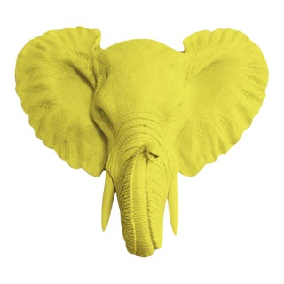 Wall Charmers Faux Head Bust Elephant Mini in Yellow