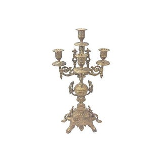 Ornate Brass Five Arm Candelabra