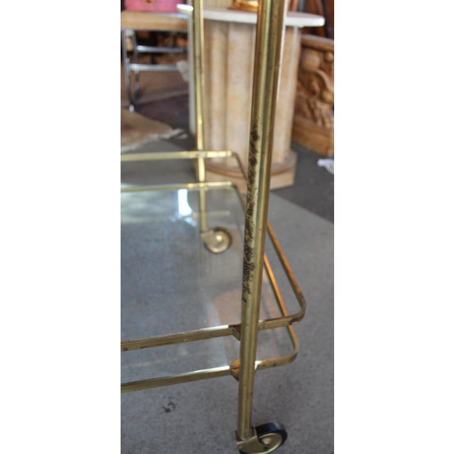 Vintage Mid-Century Brass and Glass Bar Cart - Image 8 of 9