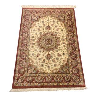 Silk Qum Signed Persian Rug - 3′4″ × 4′9″
