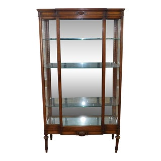 Antique French Mahogany Curio Display Crystal Cabinet