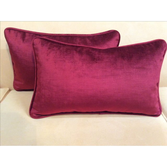 Burgundy Velvet Pillows - A Pair - Image 2 of 9