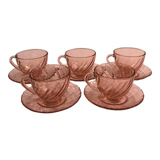 Vintage Mid-Century Modern Rose Pink Glass Teacups - Set of 5