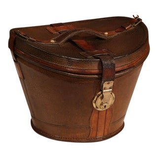 18th Century French Pigskin Leather Hat Box