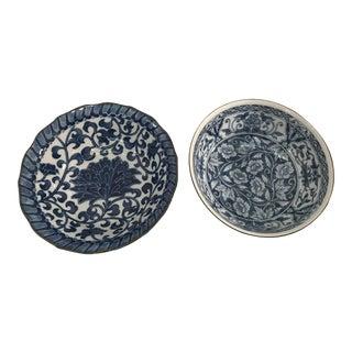 Blue & White Porcelain Bowls - a Pair