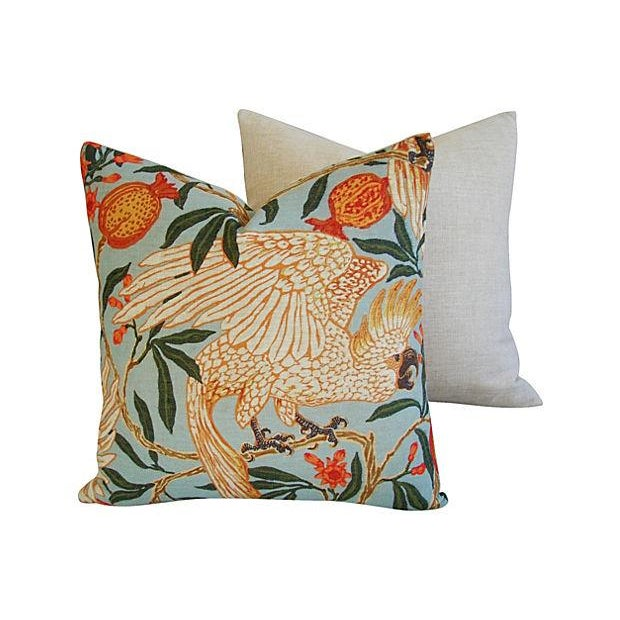 Image of Tropical Parrot & Pomegranate Feather/Down Pillows - a Pair