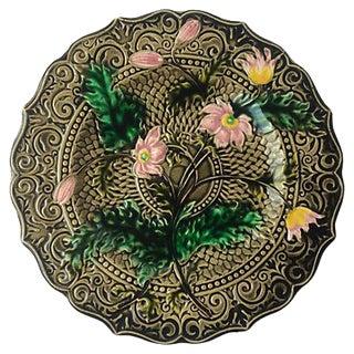 Pink Flower Majolica Plate