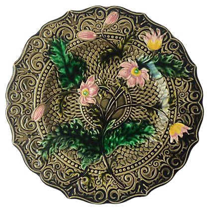 Pink Flower Majolica Plate - Image 1 of 2