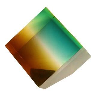 Norman Mercer Attr. Ombré Cube Lucite Sculpture