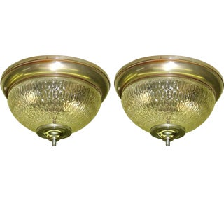 Two French 1930s Textured Glass Flush Mount Fixtures