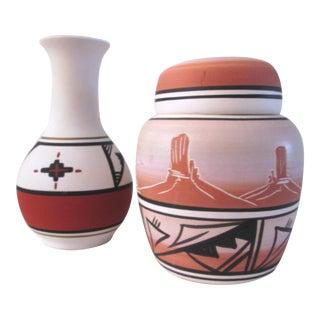Southwestern Navajo Pottery Vessels - A Pair