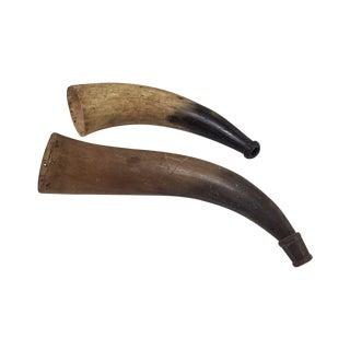 Antique Bull Horn Musket Powder Horn - A Pair