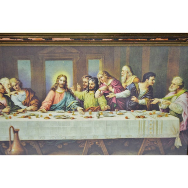 Early H. Zabateri Framed Last Supper Print - Image 5 of 10