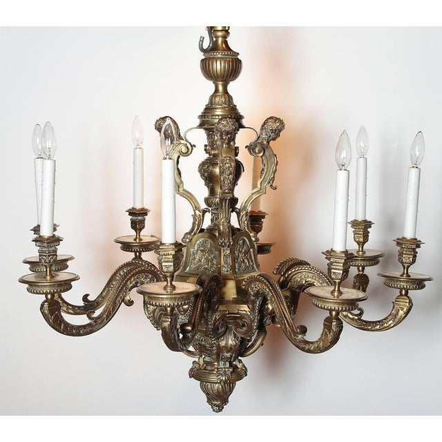 Ornate 19th Century French 8-Light Bronze Chandelier with Cherubs and Faces - Image 8 of 10