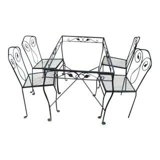 Mid-Century Woodard Patio Table & 4 Chairs