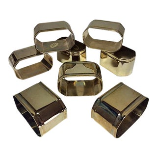 Vintage Elongated Octagon Brass Napkin Rings - Set of 8