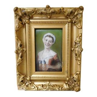 Portrait of a Smiling Woman Serving Beer on Porcelain Tile