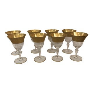Vintage Gold Rim Wine Glasses - Set of 8
