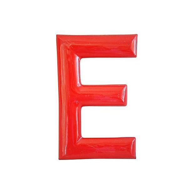 """18"""" Large 1950s Red Enameled Porcelain Letter E - Image 1 of 4"""