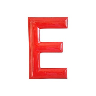 "18"" Large 1950s Red Enameled Porcelain Letter E"
