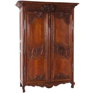 19th Century, French Provincial, Louis XV Style, Oak Wood, Two-Door Armoire
