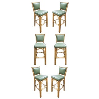 Rattan & Vinyl Bar Stools - Set of 6