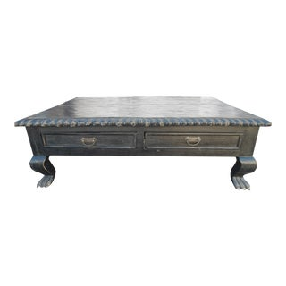 Distressed Black Wooden Coffee Table