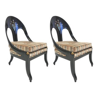 Pair of Spoonback Chairs with Mother-of-Pearl Inlay