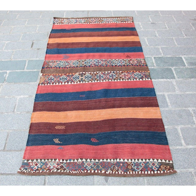 Fantastic Color Antique Turkish Malatya Kilim Rug - 6' 3'' x 3' 3'' - Image 2 of 10