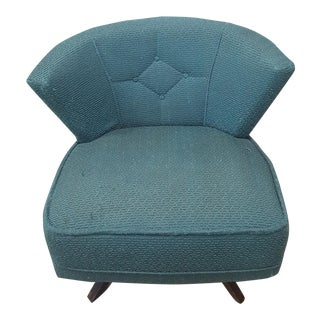 Mid-Century Modern Turquoise Kroehler Style 1950s Swivel Lounge Chair