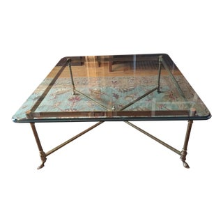 LaBarge Square Brass Hoof Foot Cocktail Table