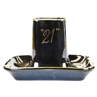 """21"" Club Porcelain Ashtray & Matchstick Holder"