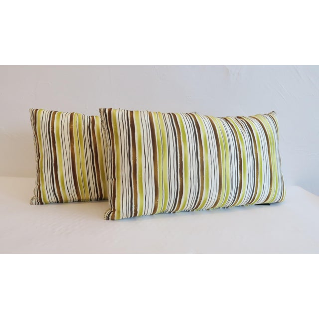 Custom Green Stripe Lumbar Pillows- a Pair - Image 2 of 4