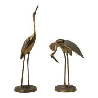 Vintage Brass Crane Birds - A Pair