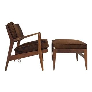Jens Risom Brazilian Cowhide Lounge Chair & Ottoman