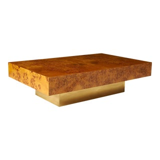 A Milo Baughman Burled Wood Coffee Table