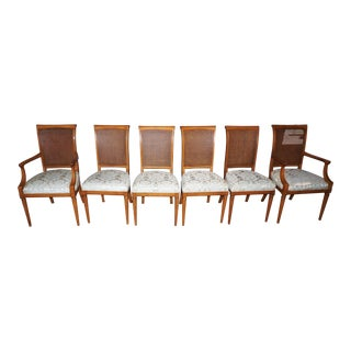 Kindel Mid-Century Cane Back Chairs - Set of 6
