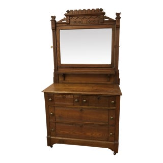 Victorian Eastlake Chest of Drawers With Mirror