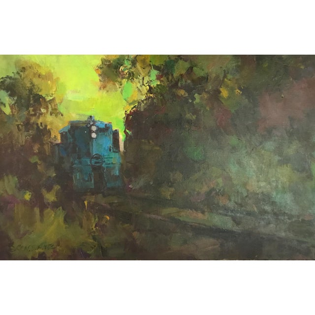 Mid-Century Oil Painting - Blue Train - Image 2 of 8