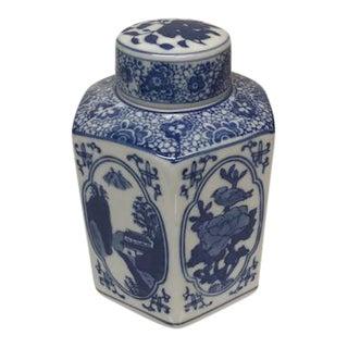 Chinoiserie Blue & White Hex Ginger Jar