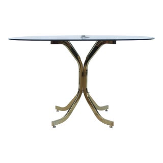 Milo Baughman Style Brass & Glass Dining Table