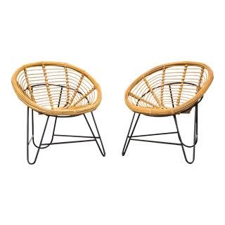 Bamboo Bucket Lounge Chairs - Pair