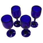 Image of Art Deco Era Cobalt Blue Wine Toasting Glasses