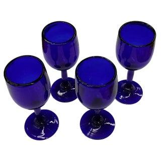 Art Deco Era Cobalt Blue Wine Toasting Glasses