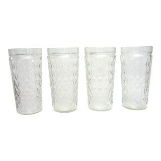 Vintage Diamond Pattern Iced Tea Glasses - Set of 4