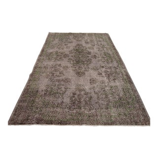 "Vintage Turkish Gray Oushak Area Rug - 5'7"" x 9'5"""