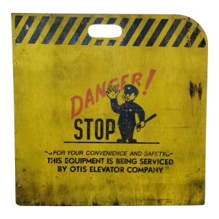 1930's Industrial Otis Elevator Barricade Safety Sign